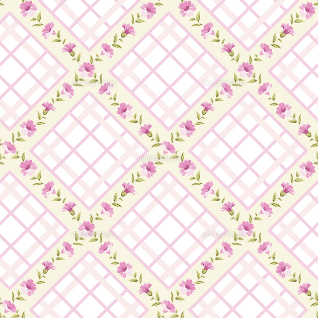 seamless vintage flower pattern on stripe background vector