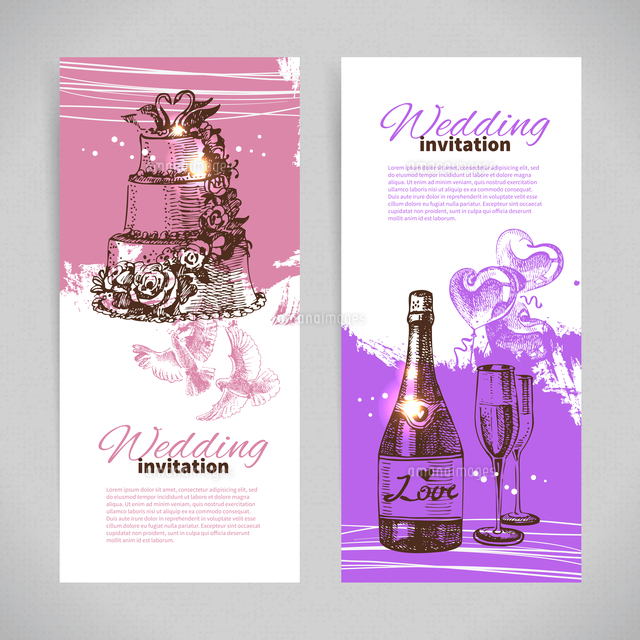 wedding invitations banner set of vintage hand drawn wedding