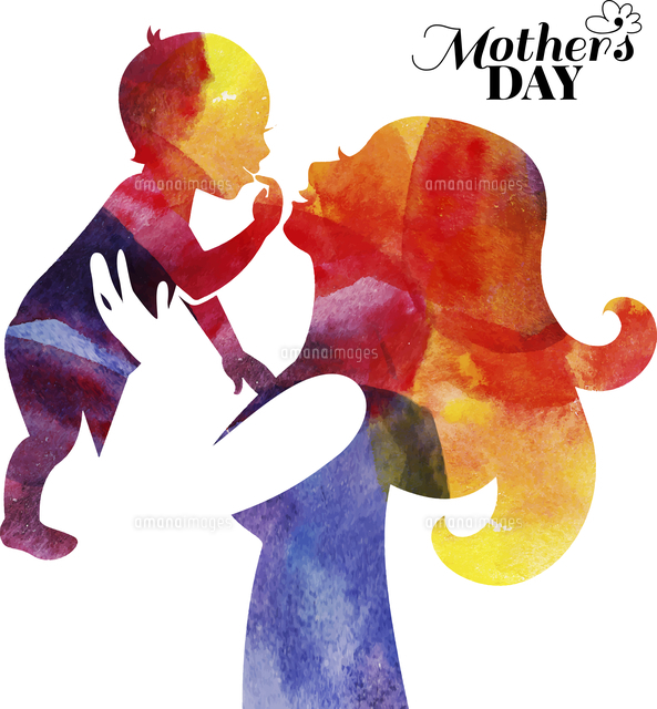 watercolor mother silhouette with her baby card of happy mothers