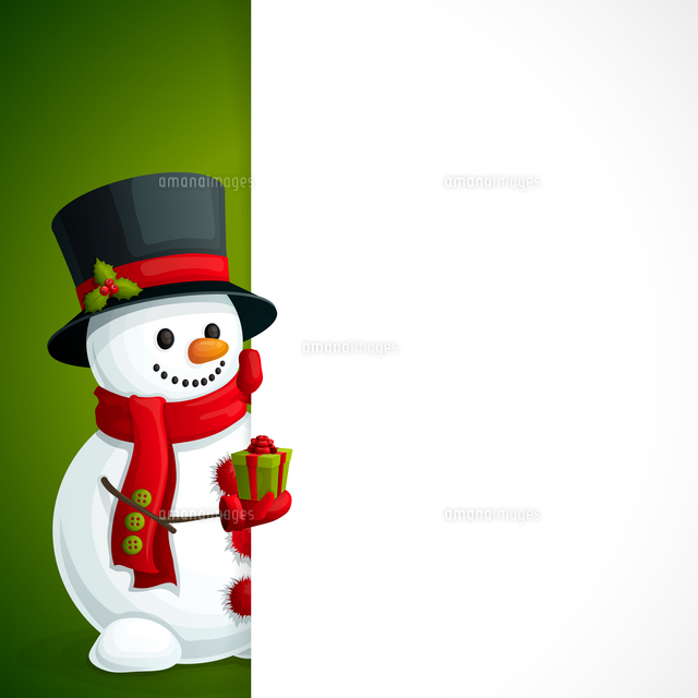 christmas new year leaflet template with snowman in scarf gloves and