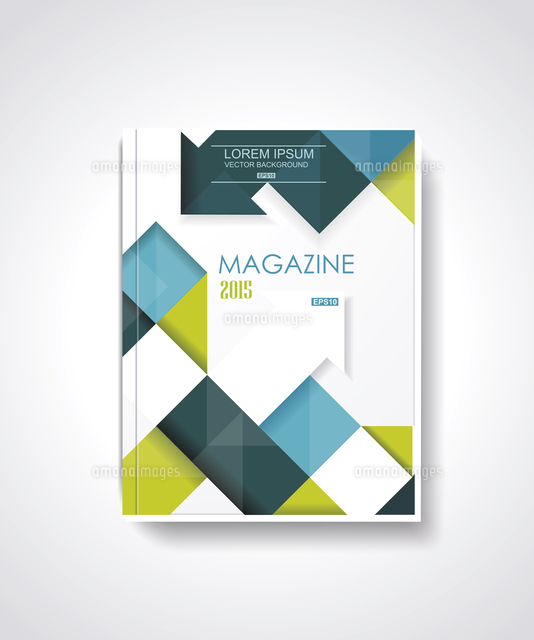 magazine or brochure template design with cubes and arrows elements