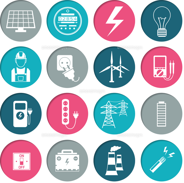 electricity power energy icons set in white color on circles vector