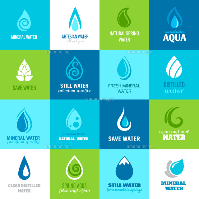 set of water design clean nature aquadrops in blue and green color