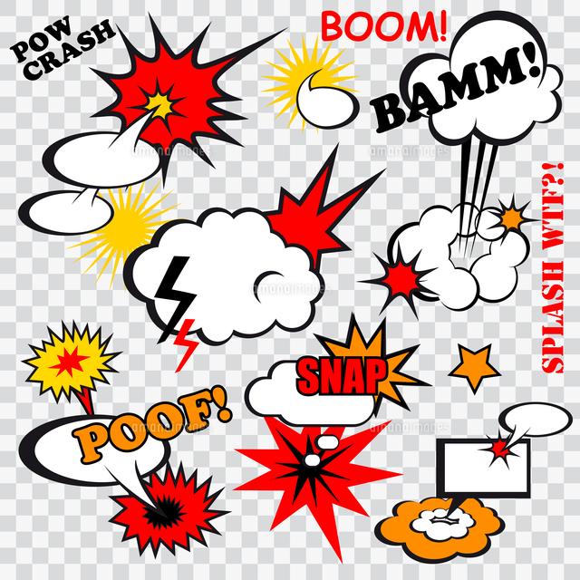 boom comic bubbles snap humor fun template design for superhero book