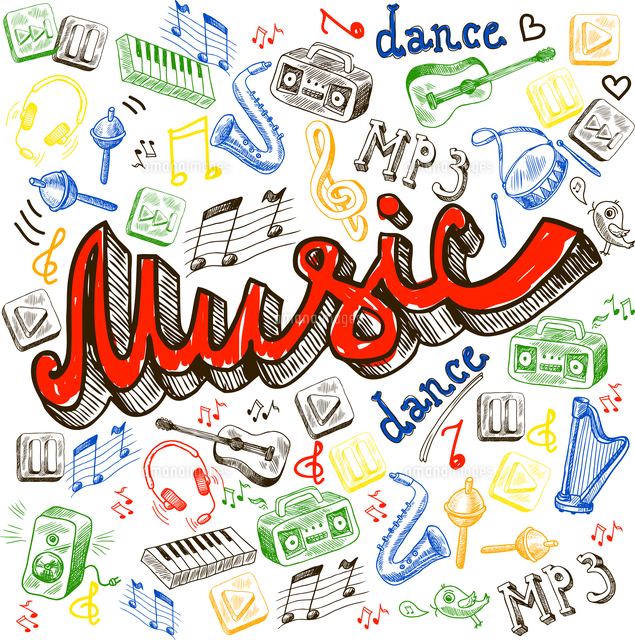 music composition with note dance words saxophone in sketch color