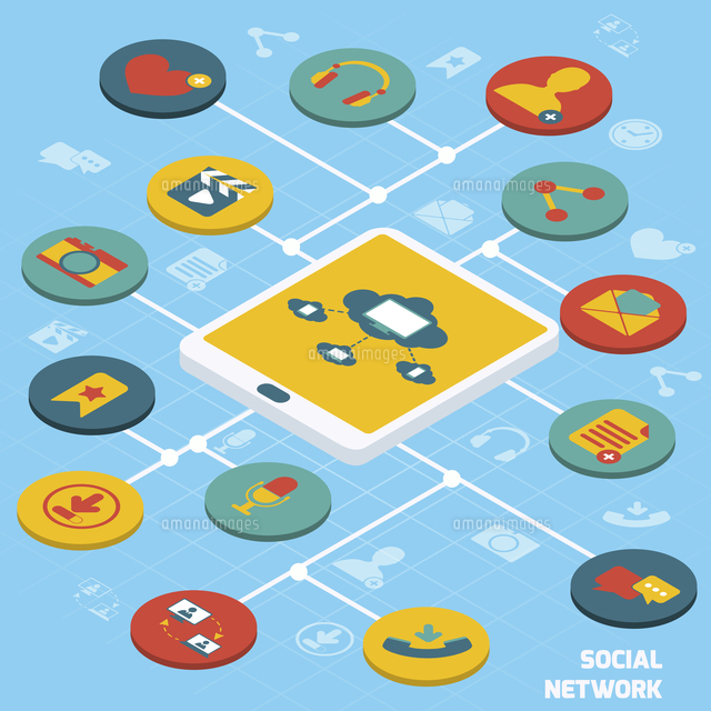 Social network concept with tablet and isometric application buttons set vector illustration