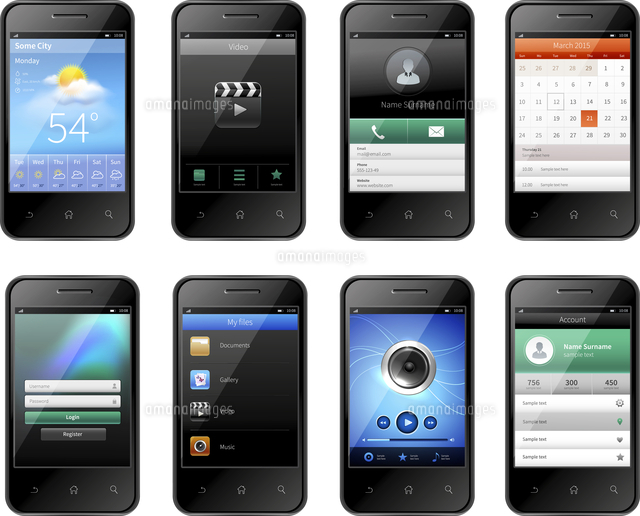 smartphones with mobile ui design template set with weather music