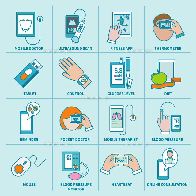 Digital health icons flat line set of mobile doctor ultrasound scan fitness app isolated vector illu