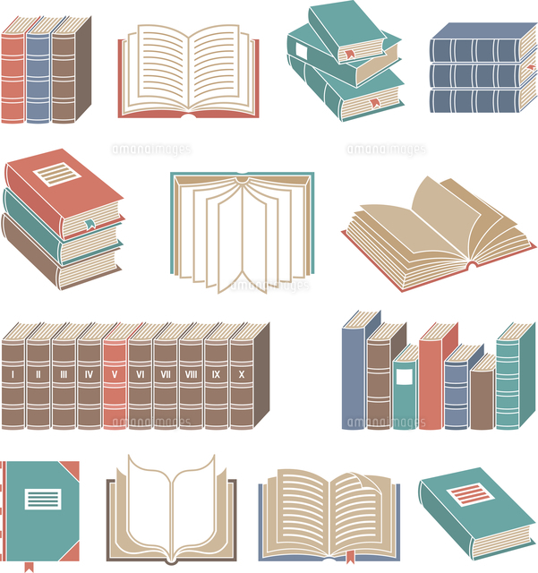 open and closed book decorative icons color set isolated vector