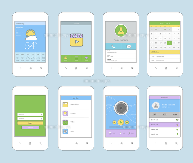 white smartphones set with mobile ui flat line design template