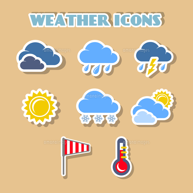 weather icons set color stickers isolated vector illustration