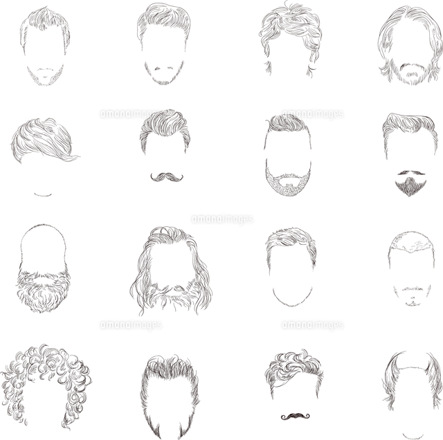hand drawn man male avatars set with haircut styles isolated vector