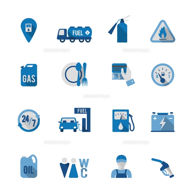 set of fuel station car auto gasoline service icon in blue and grey
