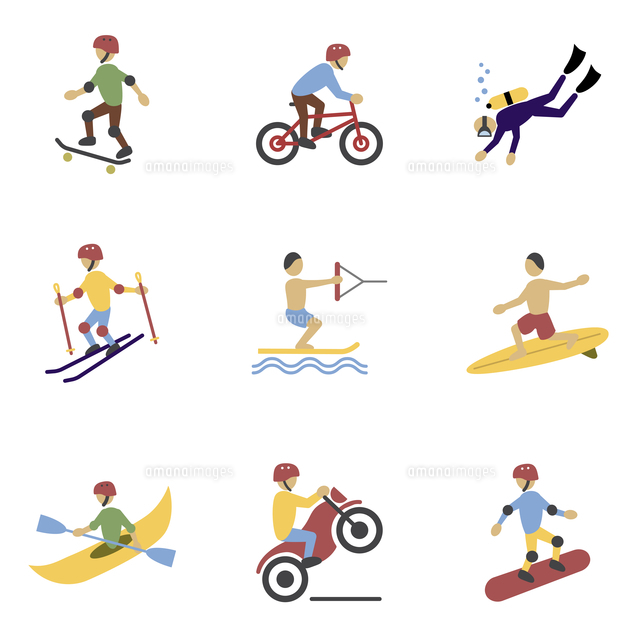 vacation travel extreme sports icons set of surfing biking rolling