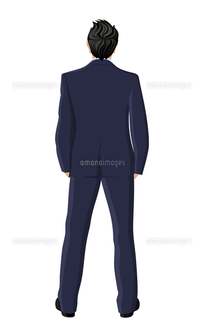 businessman in suit full length back view isolated on white