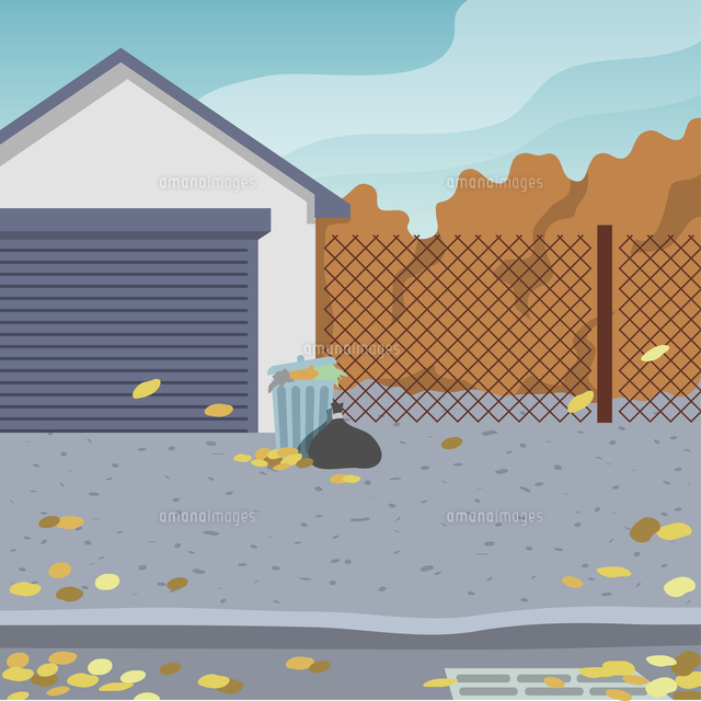 outdoor street background with garage door and garbage can
