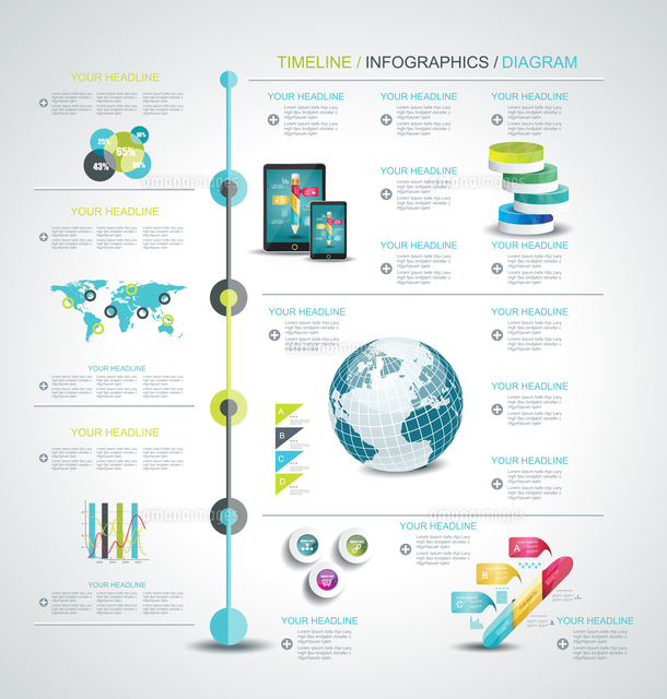 timeline design template with world map web buttons and paper tags