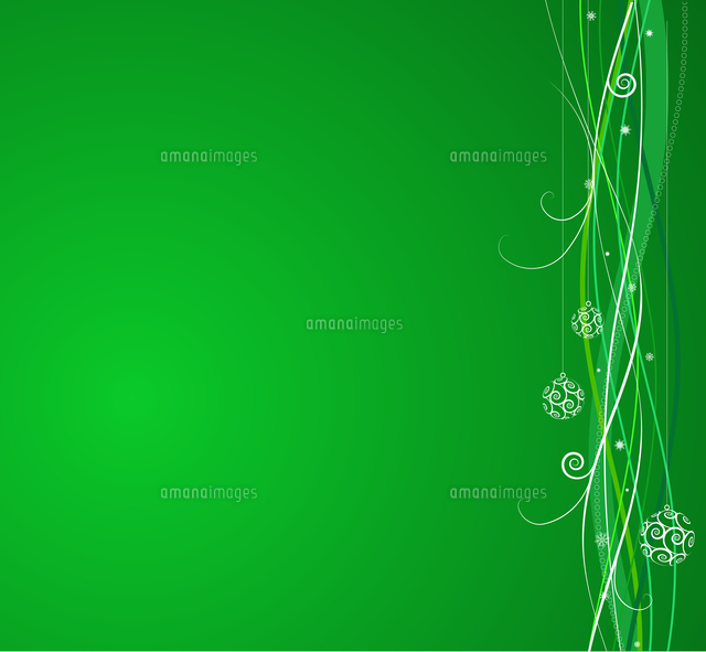 green christmas background composition of curved lines and