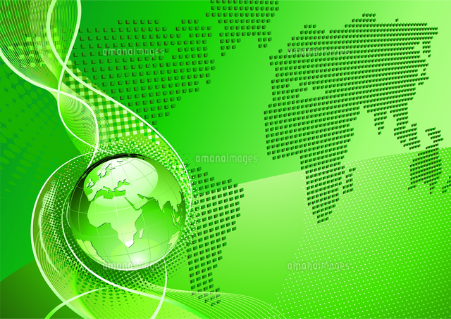 vector illustration of green abstract background with glossy globe