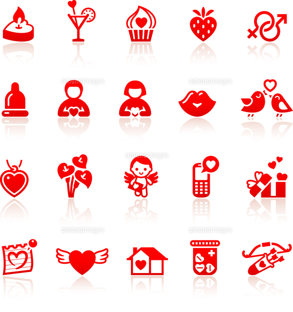 set valentine s day red icons with hearts 60016013201 写真素材
