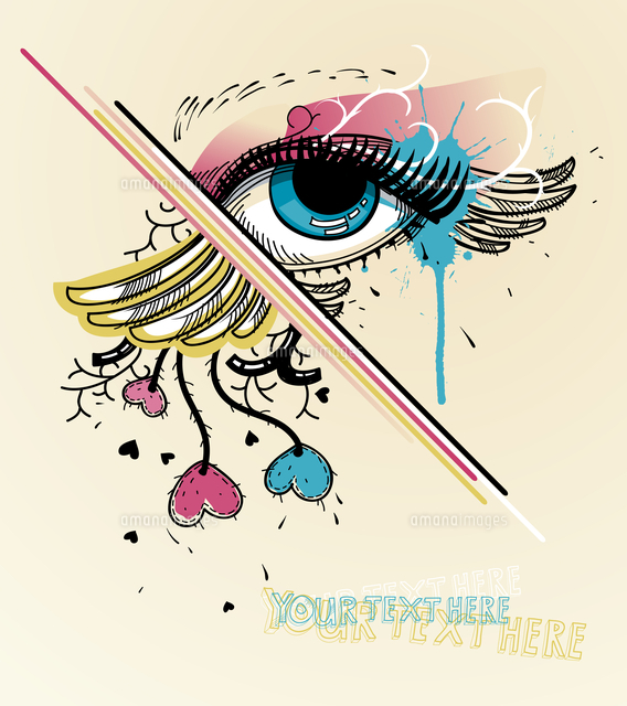 vector illustrations of a fantasy eye and colorful hearts