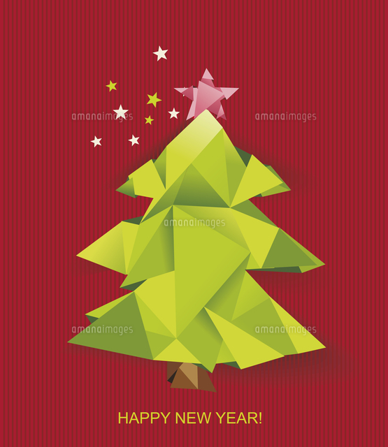 christmas tree folded of green paper design element for holiday