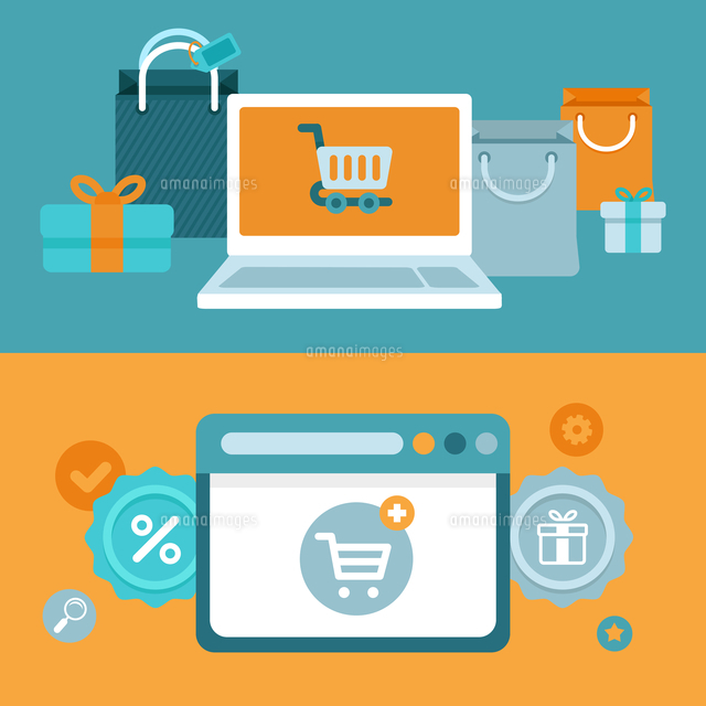 vector internet shopping concept in flat style marketing and e