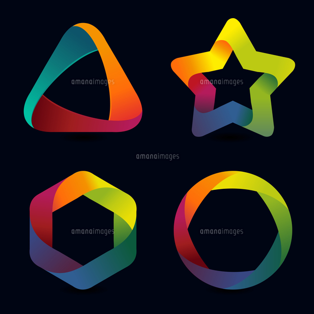 vector rainbow logo templates icons and signs in bright colors