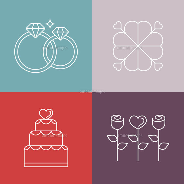 vector wedding icons in outline style logo design template for
