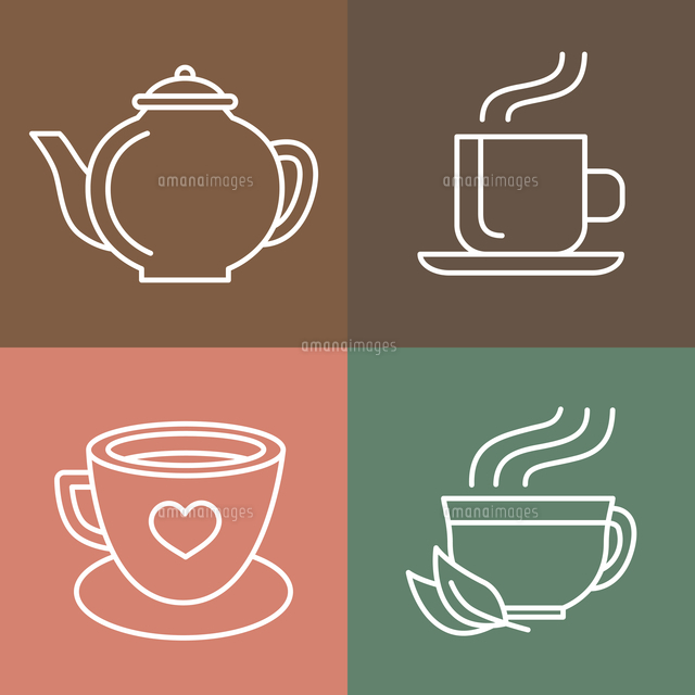 vector tea and coffee logo templates in outline style icons and