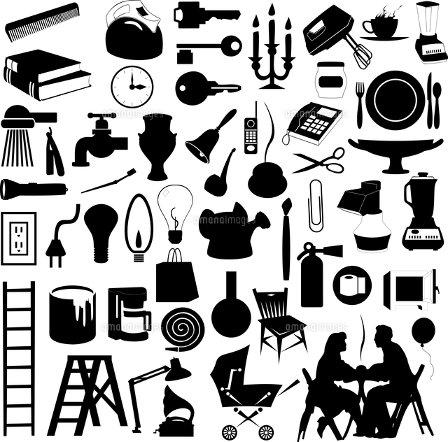 house subjects set of silhouettes of house subjects a vector