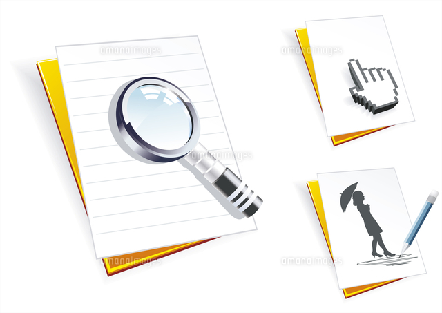 folders with paper clean sheets a magnifier the cursor and pencil