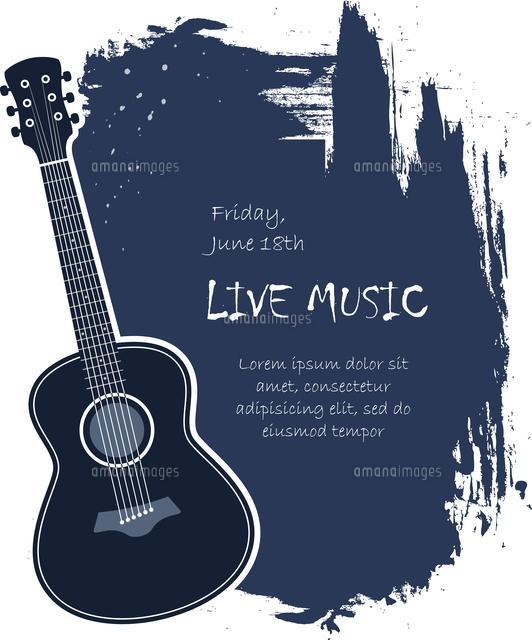 acoustic guitar live music banner template vector illustration