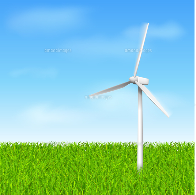 windmill with grass and sky eco concept vector illustration template