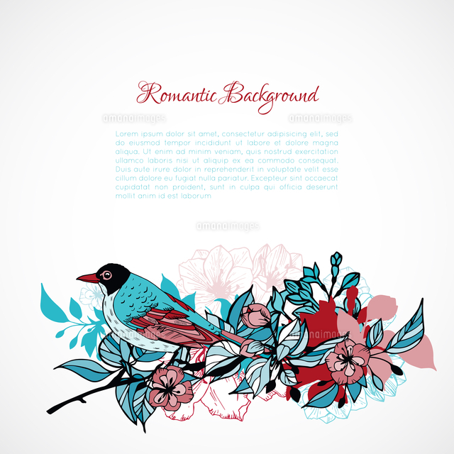 floral romantic background with bird template vector illustration