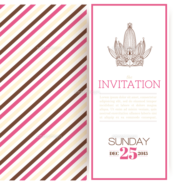 striped princess invitation card template vector illustration