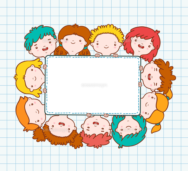 doodle kids blank frame template vector illustration 60016027465