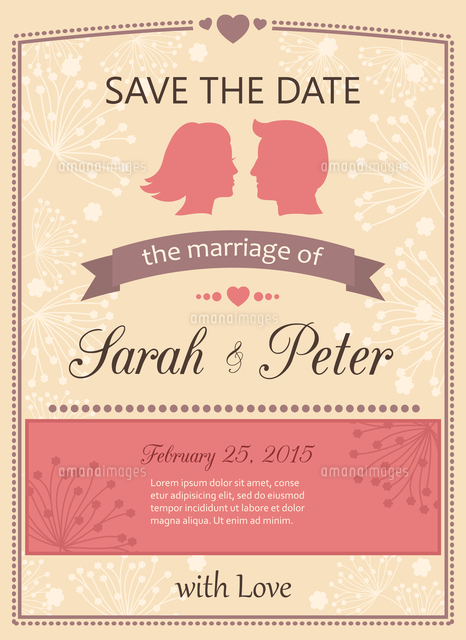 save the date wedding invitation card template vector illustration