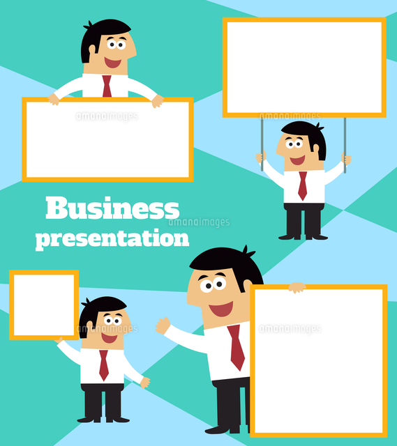 business life businessman with blank sign banner and placard for