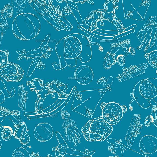 hand drawn blue chalkboard children toys sketch seamless pattern of