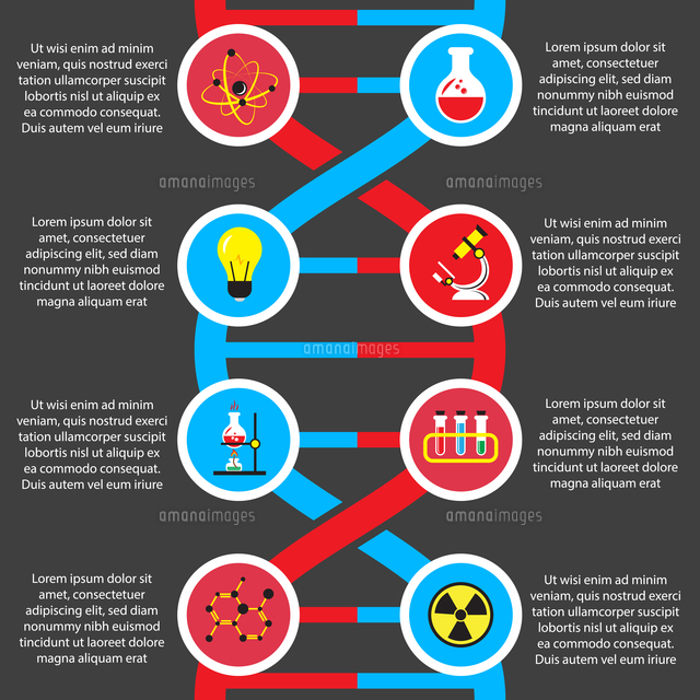 chemistry or biology flat infographics layout design elements for
