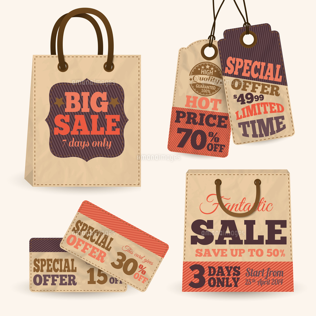 collection of paper sale price tags with shopping bags design