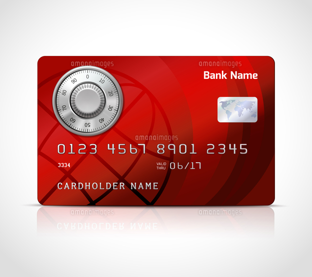 realistic credit card template with code lock online payments