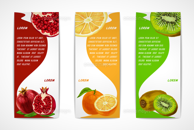 natural organic tropical fruits vertical banners set of pomegranate