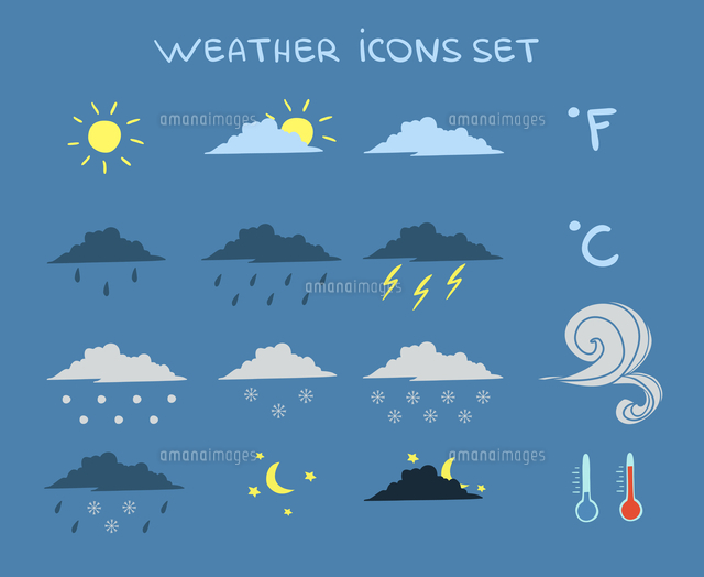 weather forecast icons set of clouds clear sky and lightning vector