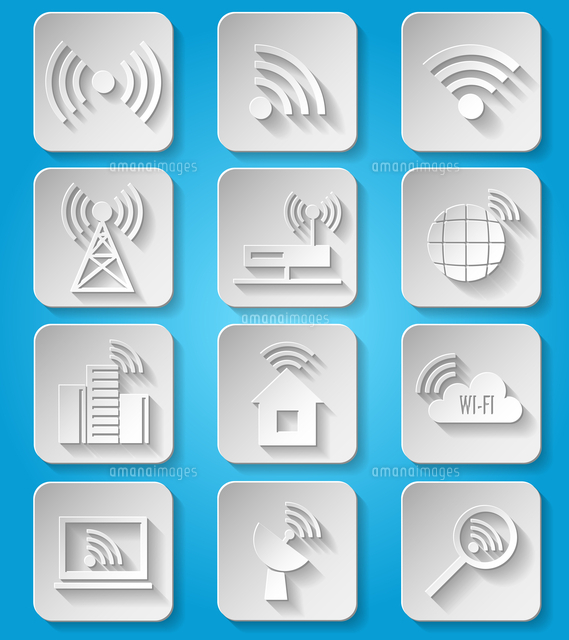 wireless communication network business paper icons set of cafe wifi