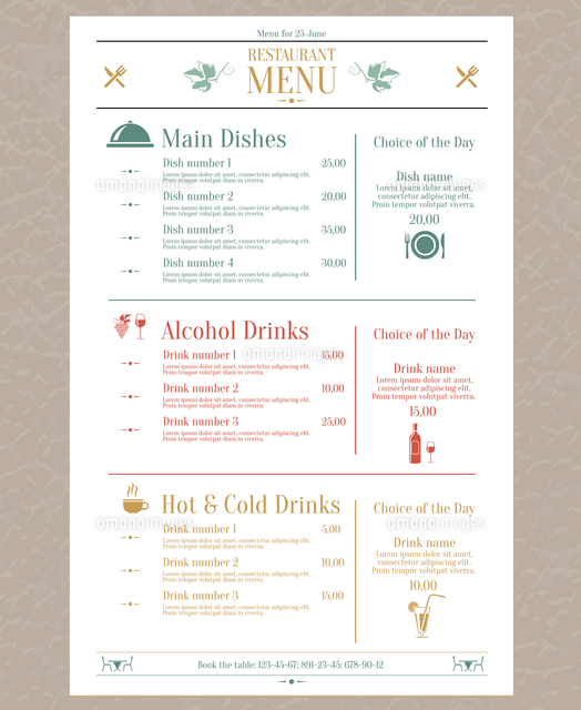 elegant restaurant menu list with decorative elements vector