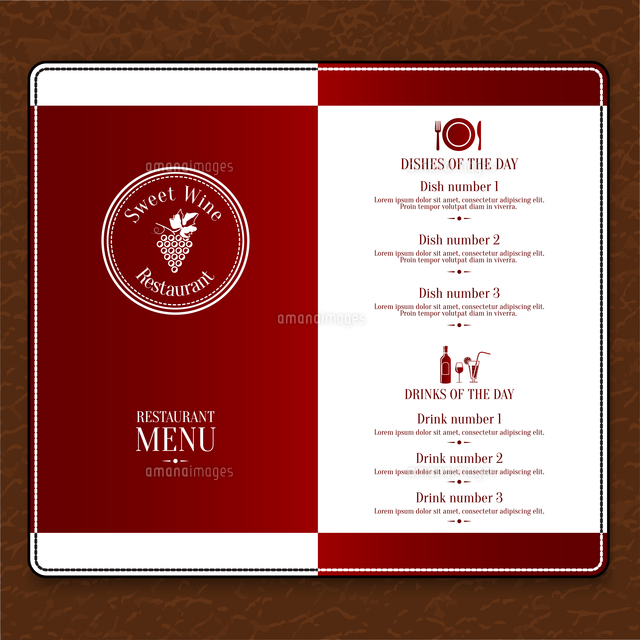 red design restaurant menu list template with dishes and drinks