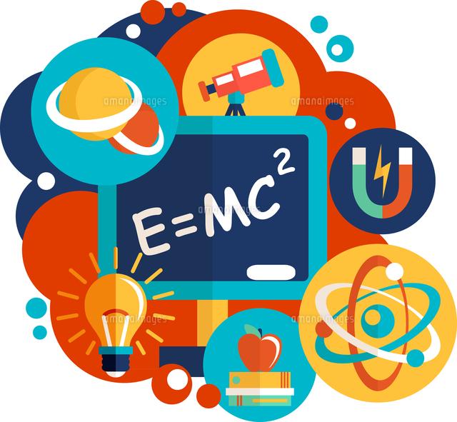 physics science laboratory equipment flat design emblem vector
