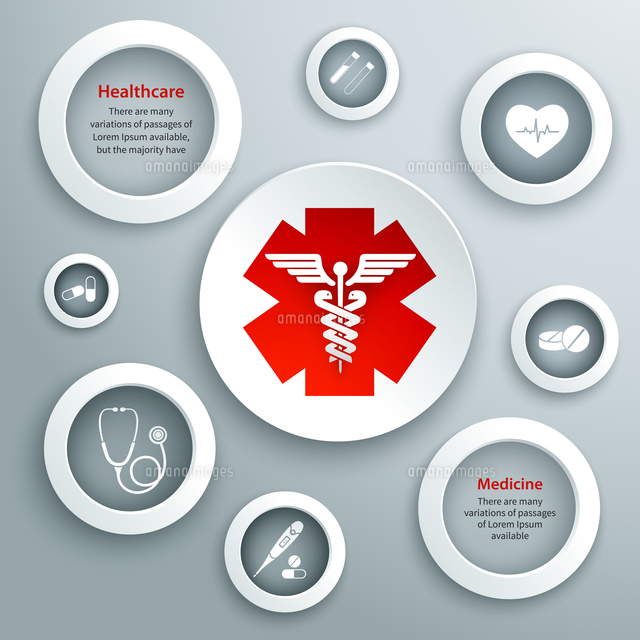 medical emergency services paper symbols set with capsule